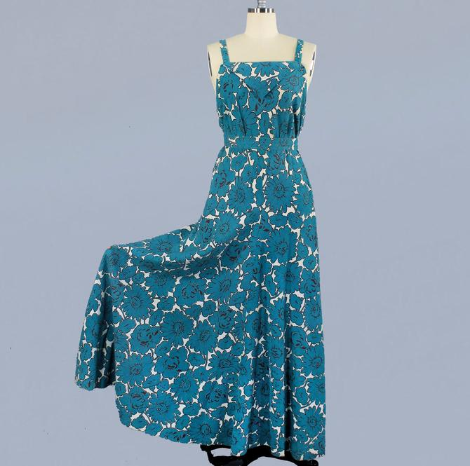 RARE 1930s Dress / 30s Beach Dress / Low Swimsuit Back / Cotton Printed Gown by GuermantesVintage