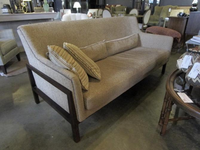 SOFA BY LEE INDUSTRIES MID CENT LOOK/ WOOD FRAME AND SOFT BROWN UPHOLSTERY