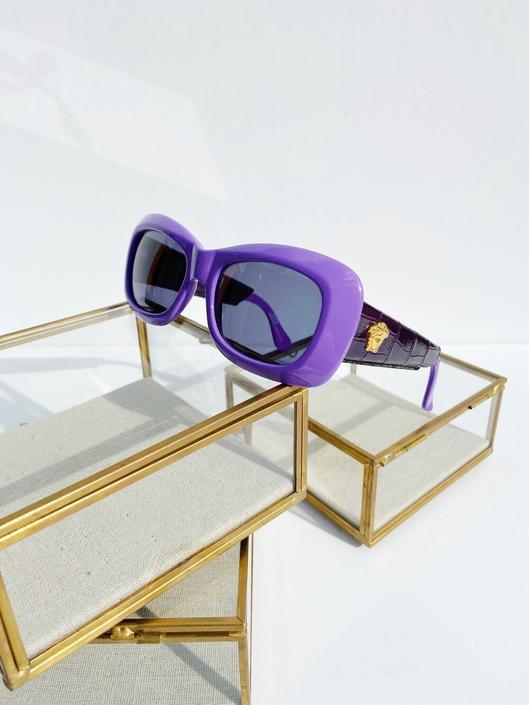 VERSACE 90s Purple Square Croc Sunglasses