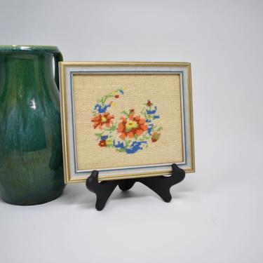 Vintage Framed Embroidery Handiwork | Wall Decor Hanging 70s 80s Floral Pattern | Nursery Decor | Rainbow Colors | Red Blue Green Orange by LostandFoundHandwrks