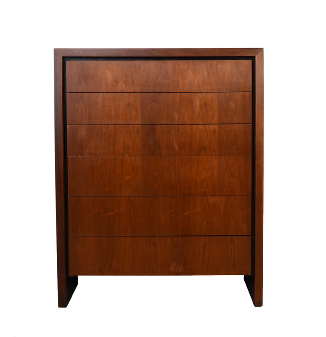 Walnut Tall Chest Dillingham designed by Milo Baughman Mid Century Modern by HearthsideHome