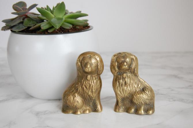 Brass Staffordshire Dog Figurines - Pair Brass Dog Statues - Vintage Brass Staffordshire Dog Statues by PursuingVintage1