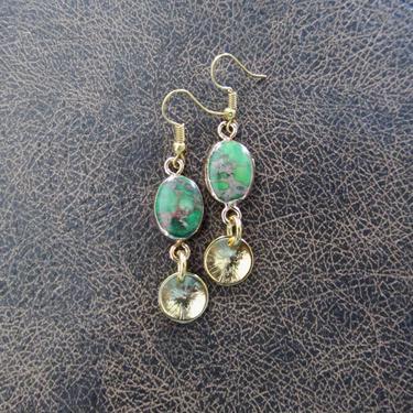 Green jasper earrings, Art Deco earrings, unique earrings, boho bohemian earrings, rustic earrings, dainty brass earrings by Afrocasian