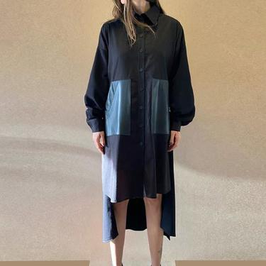 Asymmetric Bold Leather Pocket Long Sleeve Tie Waist Tunic