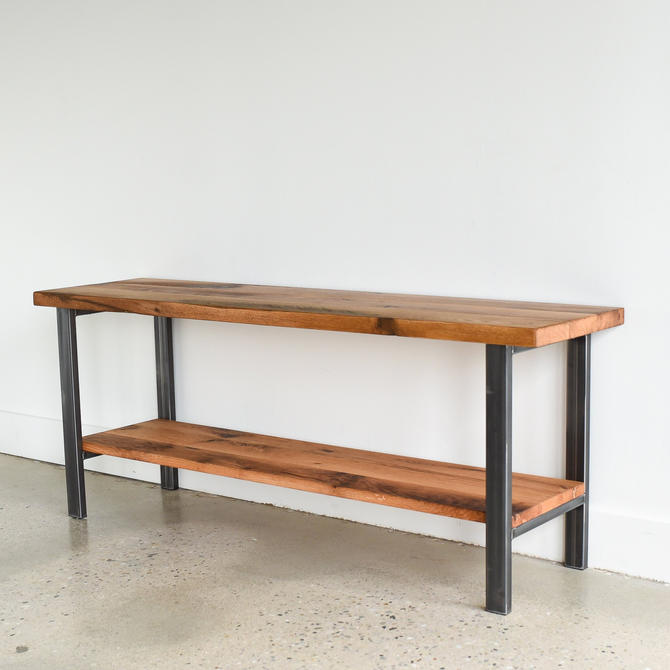 Reclaimed Media Console / Industrial Open Shelf TV Stand by wwmake