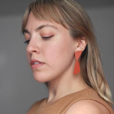 Terracotta Red Geometric Statement Earrings / Bold Dangle Earrings / Polymer Clay Handmade Jewelry / Lightweight / Hypoallergenic by theXENIASTUDIO
