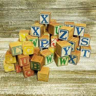 Vintage Alphabet Blocks, Childs Learning Toys, Wooden Toy Blocks, Capital Letters Square Toddler Childrens ABC Building Blocks, Vintage Toys by AGoGoVintage