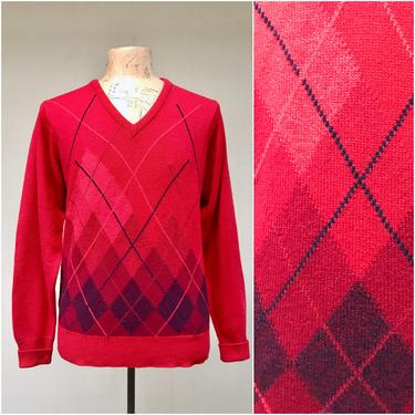 """Vintage 1960s Ballantyne Cashmere Sweater for Bullocks Wilshire,  Red Argyle V-Neck Pullover, Medium 42"""" Chest by RanchQueenVintage"""
