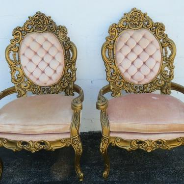 French Provincial Heavy Carved Painted Antique Gold Two Tall Side Chairs 2457