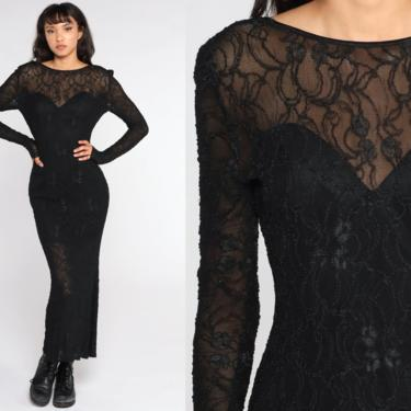 Black Lace Dress Maxi 90s Sheer Lace Party Dress Club Formal Cocktail LOW BACK Bodycon Goth 1990s Vintage Long Sleeve Sweetheart Medium by ShopExile