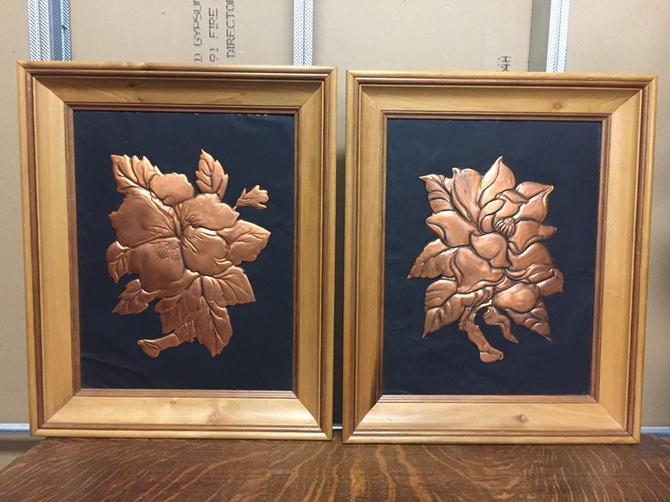 Mid Century Framed Copper Wall Art by PickeryPlace