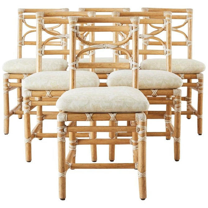 McGuire Set of Six Organic Modern Rattan Dining Chairs by ErinLaneEstate