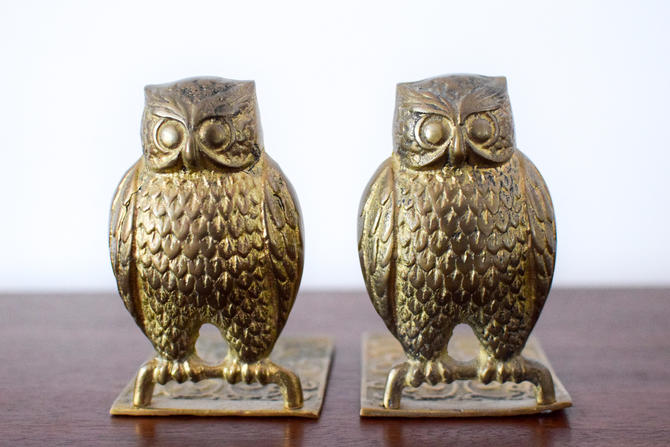 Pair of Vintage Brass Owl Bookends by CapitolVintageCharm