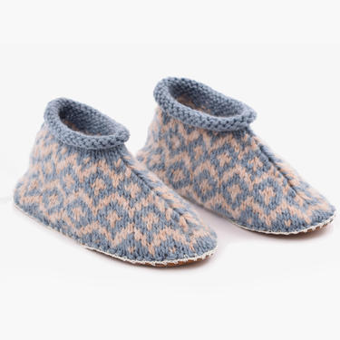 Fair Isle Knit Alpaca Slipper Blue/Beige