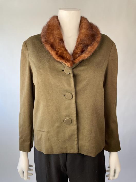 Military Green Mid-Century Fur-Collar Jacket