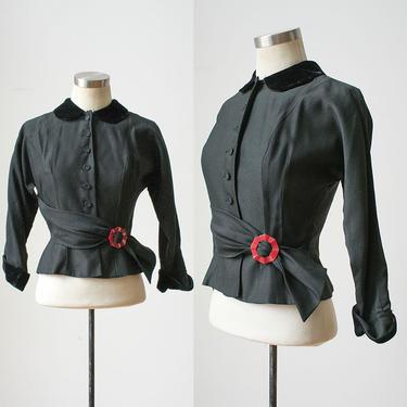 1940s Black Jacket / Womens Suit Jacket 1940s / 1940s Vintage Jacket / Button up Jacket / Stylized Vintage Button Up Jacket by milkandice