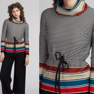 70s Striped Turtleneck Top - Extra Small   Vintage Drawstring Waist Long Sleeve Pullover Shirt by FlyingAppleVintage
