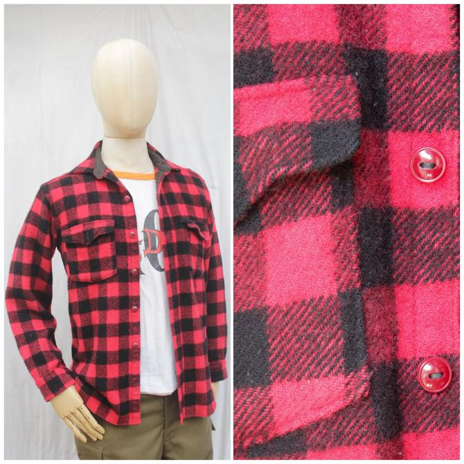 Vtg 70s Woolrich Red and Black Flannel / Plaid Workwear Shirt / Mens M/L by AmericanDrifter