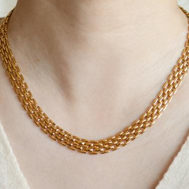 Paisley 14K gold mesh link chain necklace, gold mesh link, gold necklace, 14K gold plated, chain necklace, gift for her, necklace for women by MelangeBlancDesigns