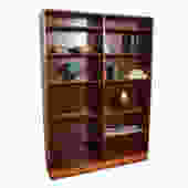 Danish Modern Rosewood Wide Adjustable Shelf Bookcase