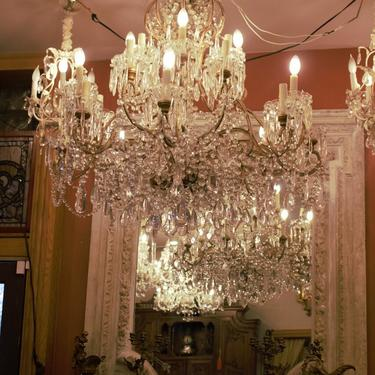 Antique Hollywood Regency Italian Crystal Two Tier 16 Arm Chandelier
