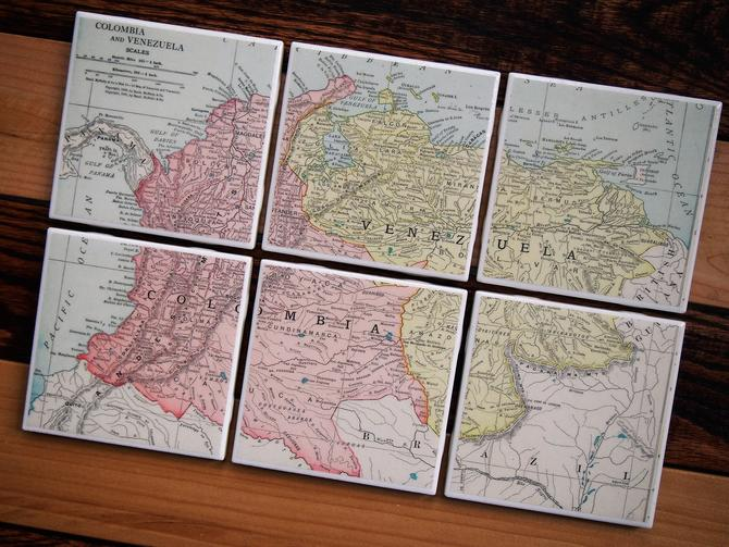 1913 Colombia & Venezuela Handmade Repurposed Vintage Map Coasters Set of 6 - Ceramic Tile - From 1910s Rand McNally Atlas - Actual Map Used by allmappedout