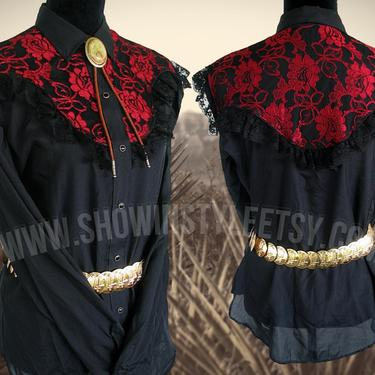 Miss Rodeo America Vintage Western Women's Cowgirl Shirt, Rodeo Blouse, Red & Black Lace Yokes, Approx. Medium (see meas. photo) by ShowinStyle