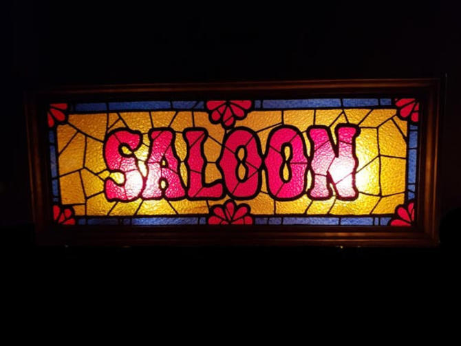 Vintage Saloon Bar Light Western Sign Lighted Stained