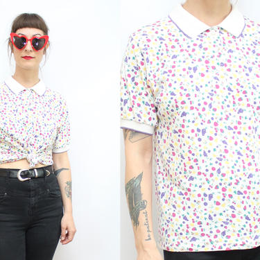 Vintage 90's Fruits Polo Shirt / 1990's Fruit Novelty Print Blouse / Collared Tee / Fruits T-Shirt / Spring / Women's Size Small Medium by RubyThreadsVintage