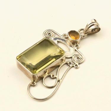 Vintage Large Sterling Silver & CItrine Necklace Pendant Unique Yellow Gemstone by HouseofVintageOnline