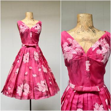 """Vintage 1950s Suzy Perette Rose Floral Party Dress, 50s Pink Sleeveless Chiffon Full Skirt Cocktail Dress, Mid-Century Frock, Small 34"""" Bust by RanchQueenVintage"""