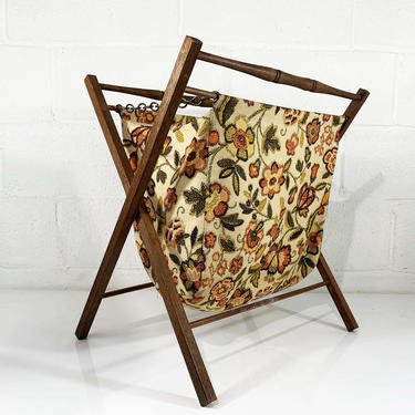 True Vintage Knitting Basket Sewing Bag 1950s 1960s Fabric Crocheting Bag Rack Magazine Kit Box Autumn Orange Folding MCM Mid-Century Modern by CheckEngineVintage