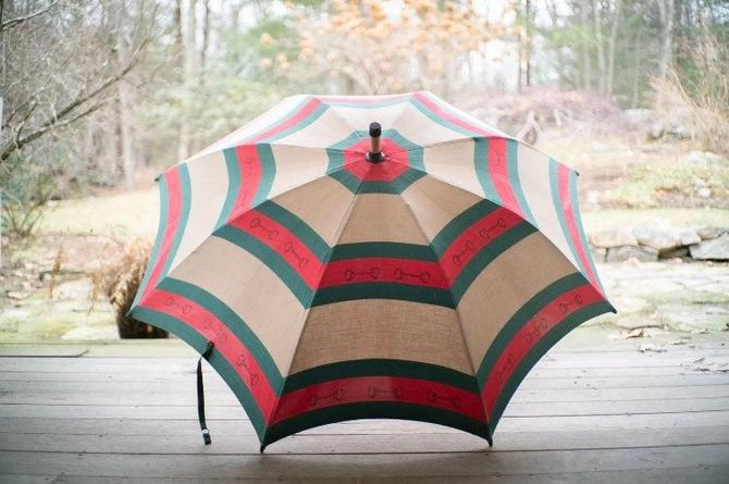 Doorman's Gucci Umbrella Vintage Huge Burl Wood Horsebit GG Canvas by BrainWashington
