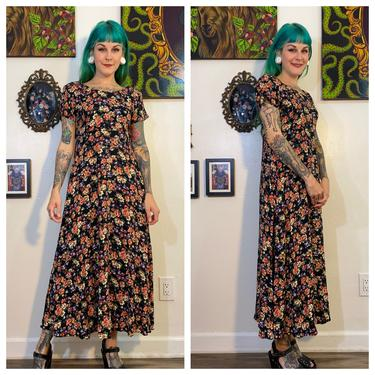 Vintage 1990's Black Floral Dress by All That Jazz by SurrealistVintage