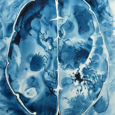Deep Blue Ink Brain  -  original ink painting on yupo - neuroscience art by artologica