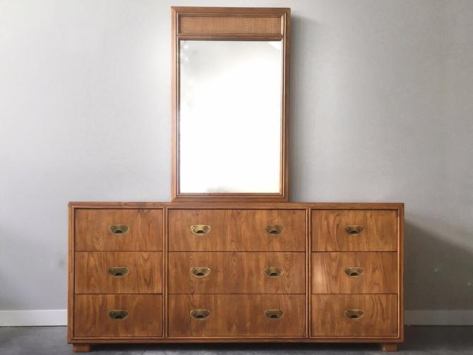 vintage mid century Drexel Passage triple dresser with mirror.
