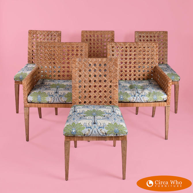 Set of 6 Woven Rattan Chairs