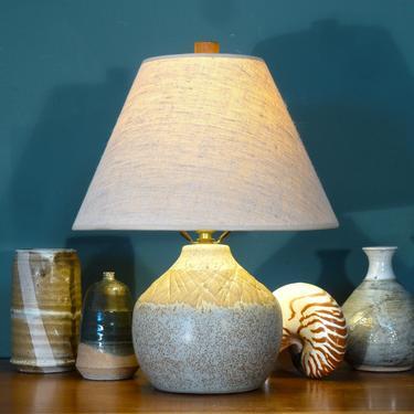 Martz Marshall Studios Vintage Ceramic Lamp With Original Shade And Teak Finial Mid Century Modern Lighting Mcm Table By Flytimesvintage