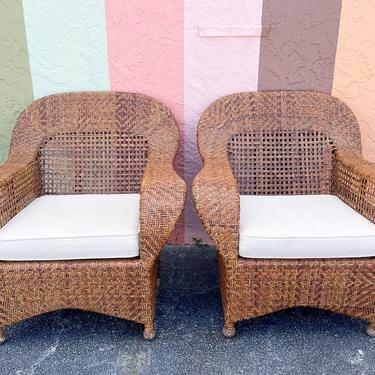 Pair of Woven Rattan Lounge Chairs