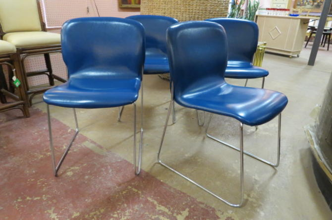 Vintage MCM set of 4 blue vinyl and chrome chairs
