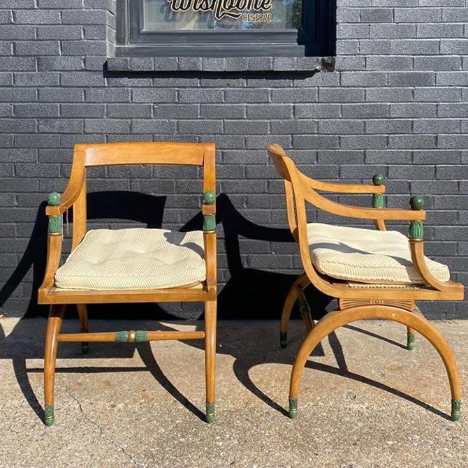 """Pair of Hollywood Regency Style armchairs. 21.5"""" W x 18.5"""" D x 17"""" Seat Height"""