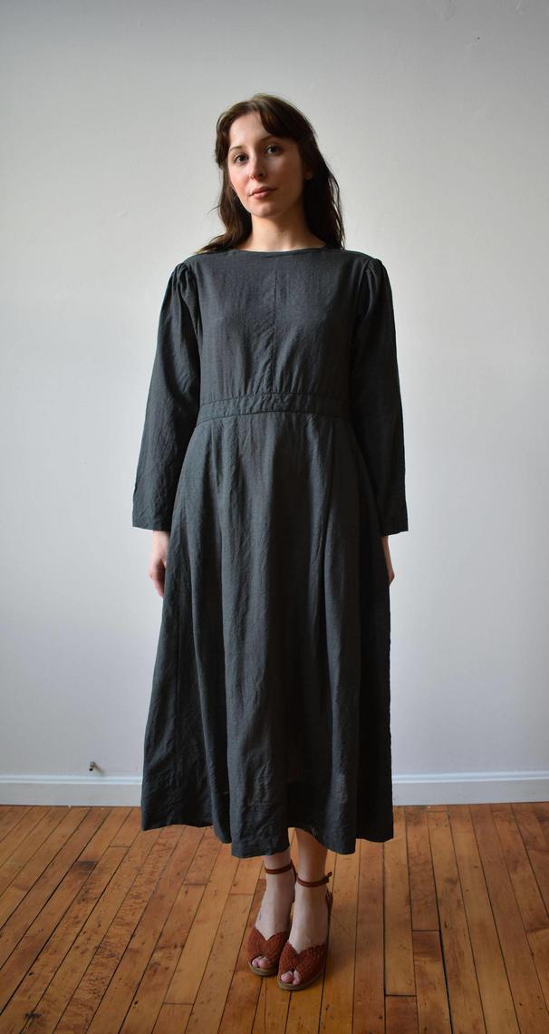 Vintage Farm Dress Gray Wool Amish Dress Modest Farm