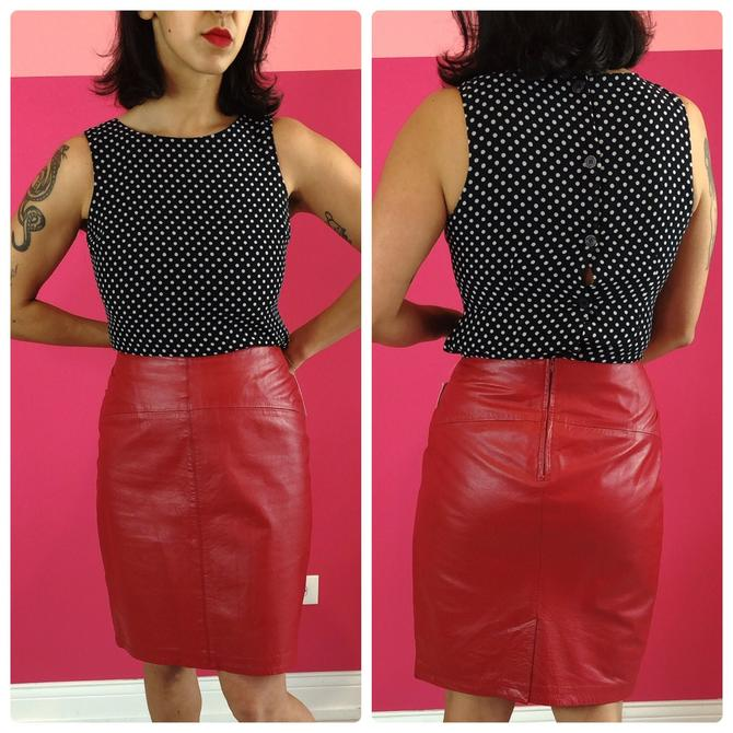 1980s Red Leather Pencil Skirt by LostGirlsVtg