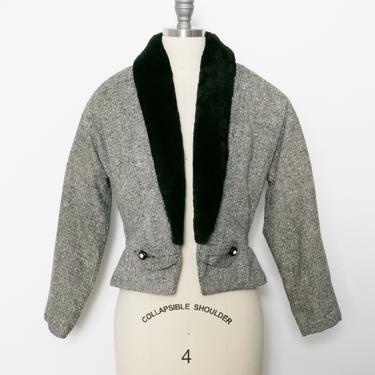 1950s Cropped Jacket Tweed Wool Peplum S by dejavintageboutique