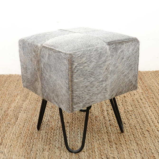 Iron Leg & Hair-on Leather Stool
