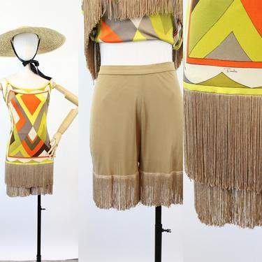 1960s 1970s EMILIO PUCCI mini dress fringe SHORTS xs | new spring by CrushVintage