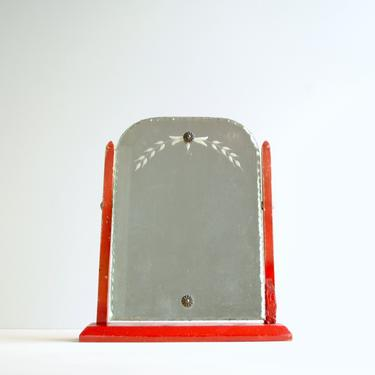 Vintage Vanity Mirror, Dresser Mirror, Adjustable Beveled Scallop Edge Glass Mirror on Red Wood Stand by LittleDogVintage