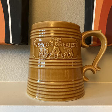 """Vintage 1970s Made in Japan """"The World's Greatest Dad Tank"""" Extra Large Coffee Mug or Beer Stein by DesertCactusVintage"""