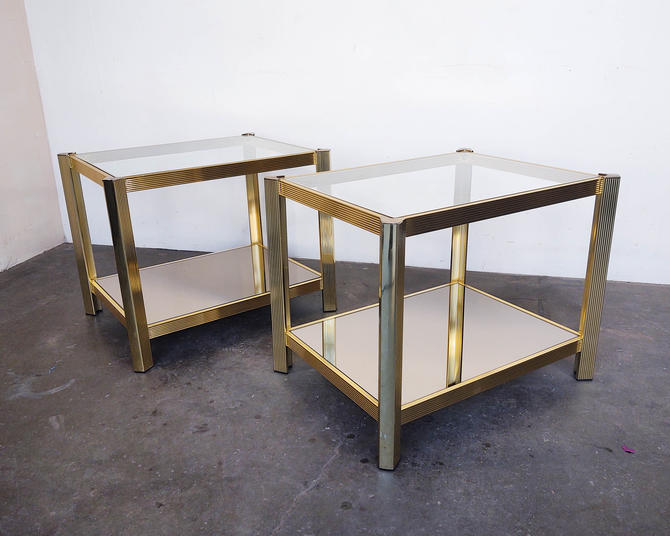 Pair of Vintage Brass Framed + Glass Side / End Tables 70s by IridiumInteriors