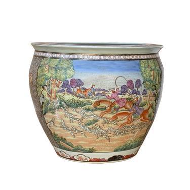 Chinese Oriental Vintage Porcelain Western Horses Dominos Graphic Pot cs6976E by GoldenLotusAntiques